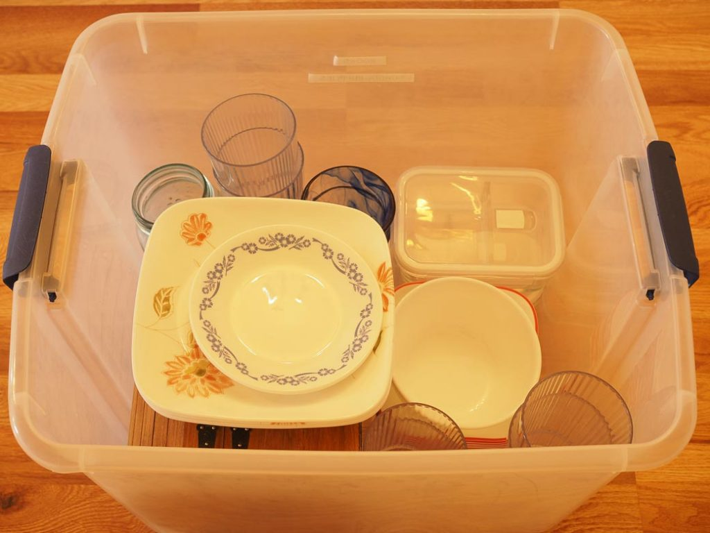 empty bin for items that you might want to declutter for an easy to maintain kitchen without spending money