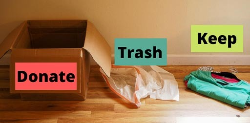 materials needed for decluttering fun- brown box, trash bag
