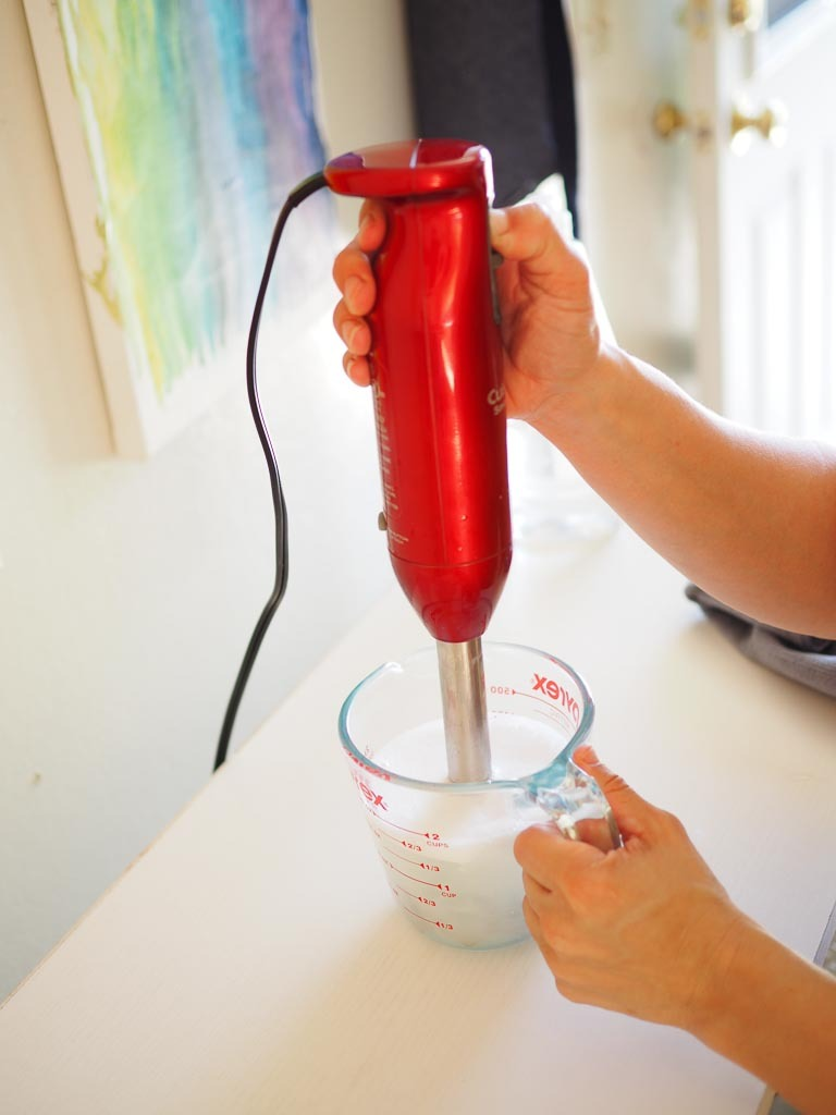 immersion blender in a soapy water solution